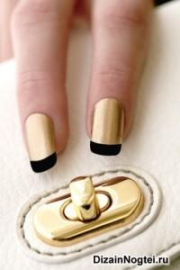 Летний модный дизайн ногтей 2013 черный френч с золотым фоном